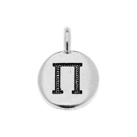 TierraCast Greek Alphabet Charm, Pi Symbol 16.75x11.75mm, 1 Piece, Antiqued Silver Plated