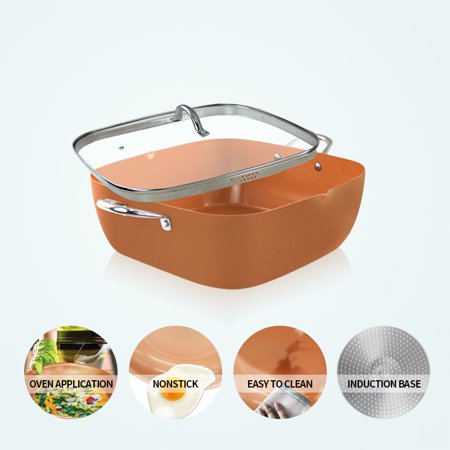 """12"""" Induction Based Non Stick Copper Ceramic Square Sauce Pot with Glass Lid"""