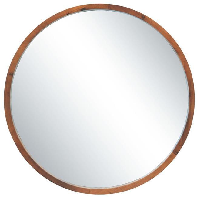 Round Mirror 44 Walnut, Round Wood Frame Mirror Canada