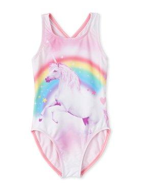 The Children'S Place Girls 4-16 Cross Back Unicorn Swimsuit