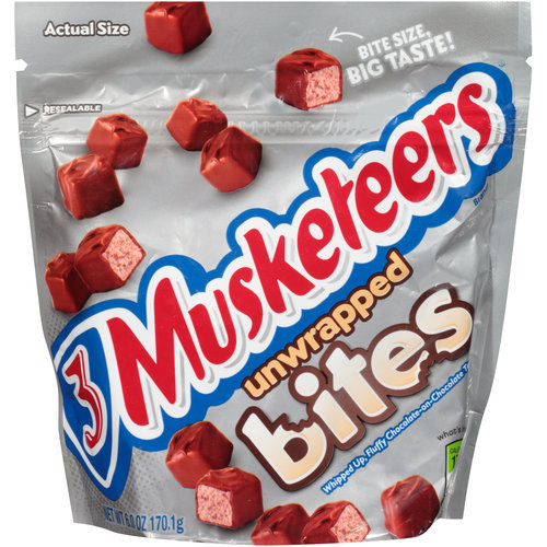 8 PACKS : 3 Musketeers Candy Bar Unwrapped Bites 6.0 oz