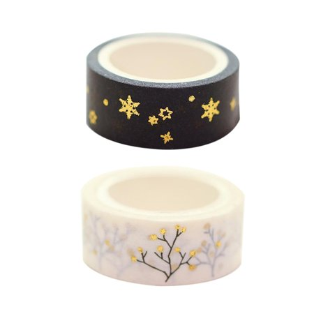 15mm*5m Gold Foil/Silver Foil Printed Patterns Washi Tape Sticky Adhesive Paper Masking Tapes for Scrapbooking DIY Decoration Gift Wrapping - image 4 de 5