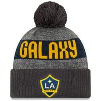 LA Galaxy New Era 2019 On-Field Cuffed Knit Hat with Pom - Gray/Charcoal - OSFA