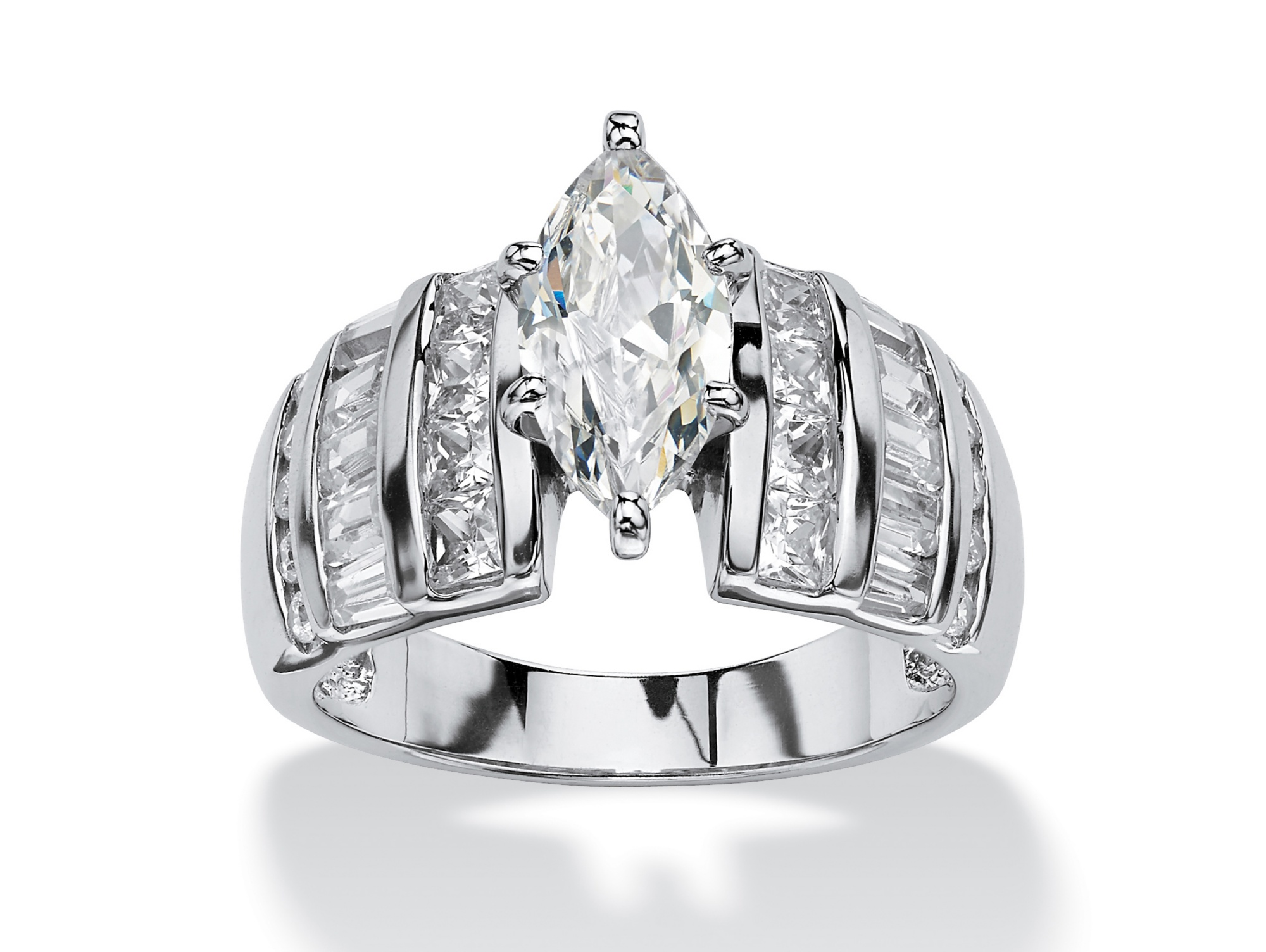 3.87 TCW Marquise-Cut Cubic Zirconia Engagement Anniversary Ring in Platinum over Sterling Silver by PalmBeach Jewelry