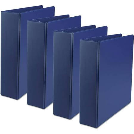 2 Capacity Blue Ring Binders ((4 Pack) Universal Economy Non-View Round Ring Binder, 2