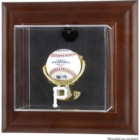 Pittsburgh Pirates (2014-Present) Brown Framed Wall-Mounted Logo Baseball Display Case Pittsburgh Pirates Display Cases