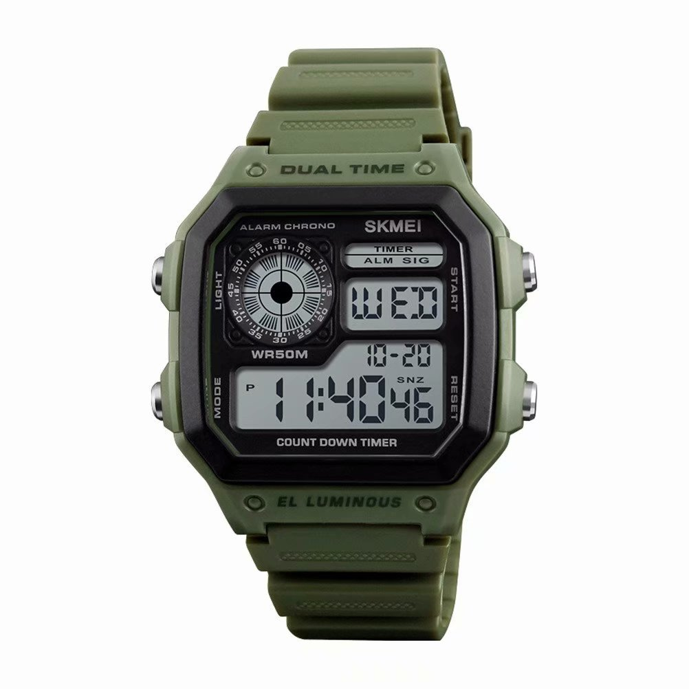 Akoyovwerve Men's Digital Electronic Waterproof LED Date Military Sport Wrist Watch Alarm Casual Quartz - Army Green