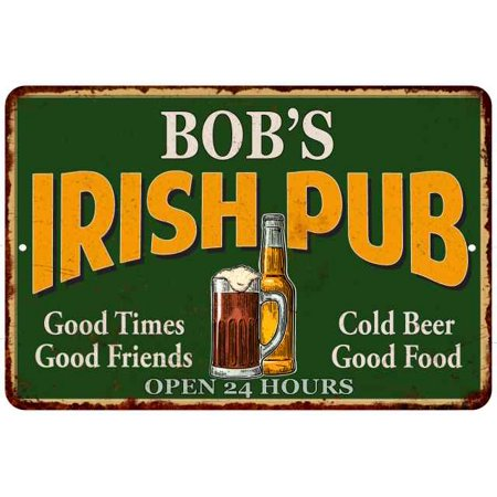 BOB'S Irish Pub Personalized Beer Metal Sign Bar Decor 8x12 208120013269