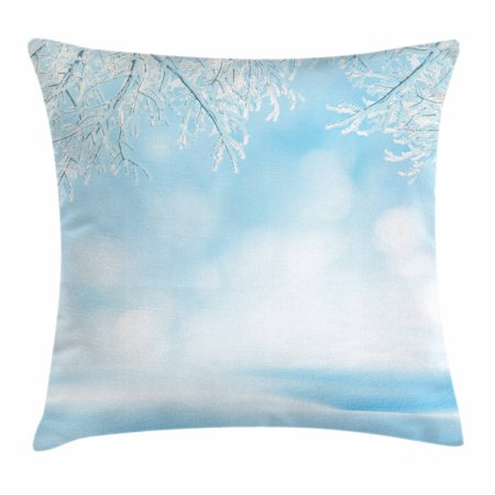 Winter Throw Pillow Cushion Cover, Freezing Nature Snowy Landscape with Icy Tree Branches Hoarfrost Scenic Outdoors, Decorative Square Accent Pillow Case, 16 X 16 Inches, Sky Blue White, by Ambesonne