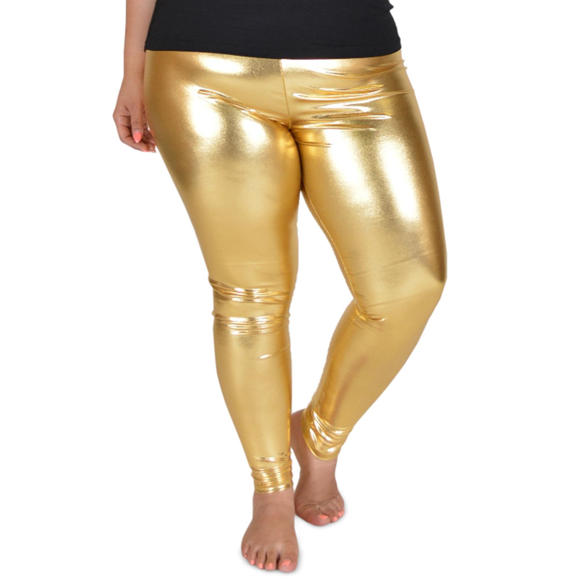 Plus Size Metallic Leggings - XXX-Large (20-22) / Metallic Gold ...