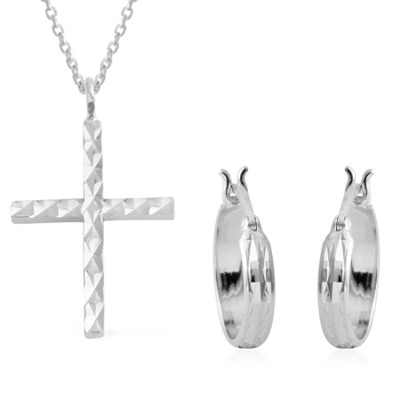 925 Sterling Silver Round Cubic Zirconia CZ Hoops, Hoop Cross Earrings Cross Pendant (Happiness Cross Silver Set)