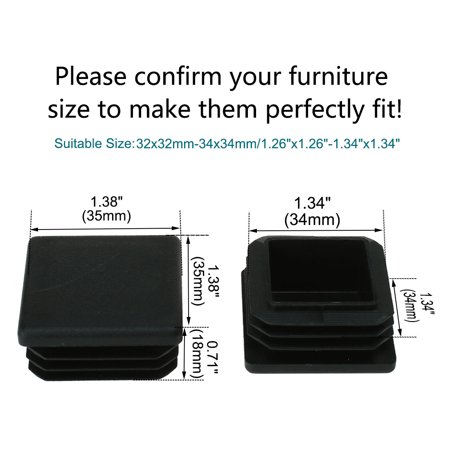 "Square Tube Insert Furniture Floor Protector for 1.26"" to 1.34"" Inner Size 40pcs - image 2 of 7"