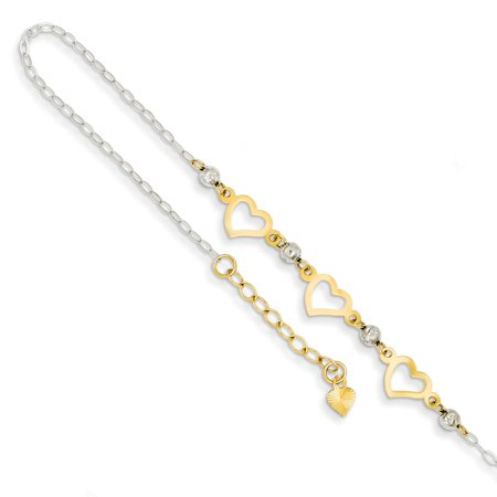 Ankle Bracelet Foot Jewelry Anklet Ice Carats 14kt Two Tone Yellow Gold Oval Link Beads