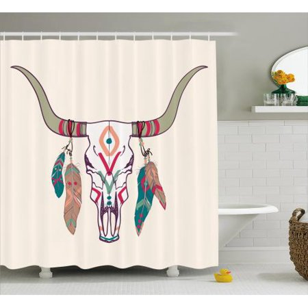Tribal Shower Curtain Texas Longhorn Steer Cow Skull Ethnic Style Aztec Colorful Feathers Hanging On