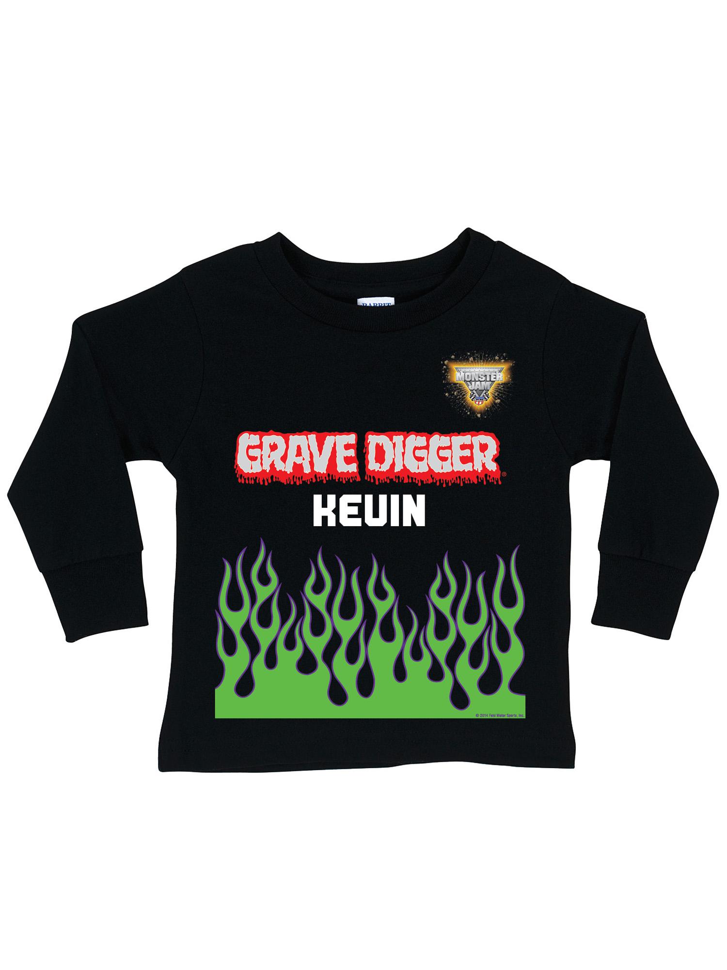 Personalized Monster Jam Grave Digger Uniform Black Long Sleeve Toddler Boys' T-Shirt