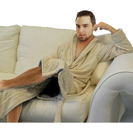 Napa Men's Hotel Spa Plush Robe Herringbone Textured Microfiber Fleece Super Soft Lightweight Bathrobe -