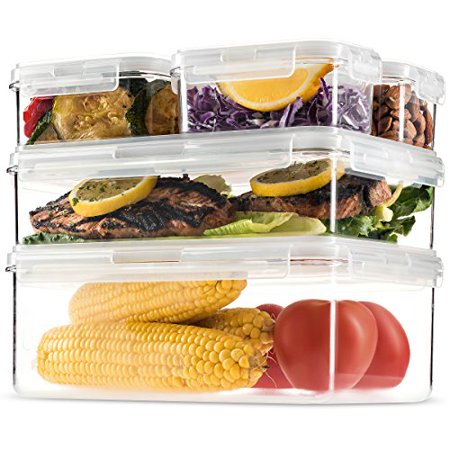 Komax Hikips Premium Tritan Pantry Food Storage Containers. (set of 5) - Airtight, Leakproof With Locking Lids - BPA Free - Microwave, Freezer and Dishwasher