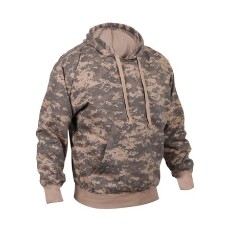 Fleece-Lined Camouflaged Pullover Hooded Sweatshirt, ACU Digital Camo, XL