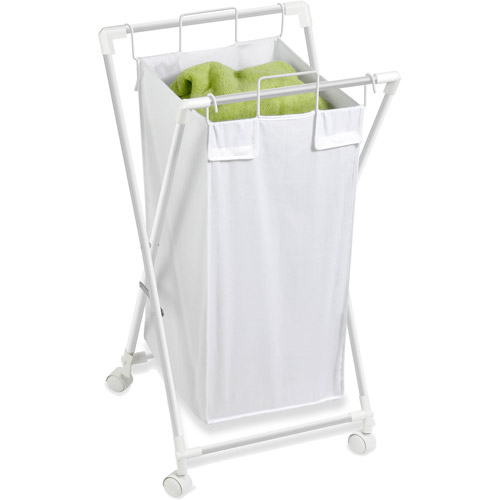 Honey Can Do Foldable Rolling Laundry Hamper with Removable Bag, White