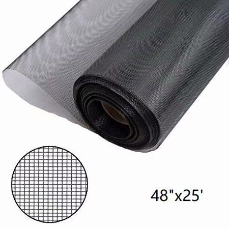 "Shatex Window Screen Mesh, DIY Fiberglass Screen Replacement Black Mesh Fabric, Moquito/Insect Barrier, Invisible & Fireproof 48""x25"