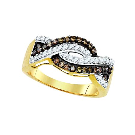 10kt Yellow Gold Womens Round Cognac-brown Colored Diamond Crossover Band Ring 1/2 Cttw