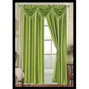 Editex 627VALG3729 Elaine Waterfall Faux Silk Valance Elaine with 2 Grommets in Green