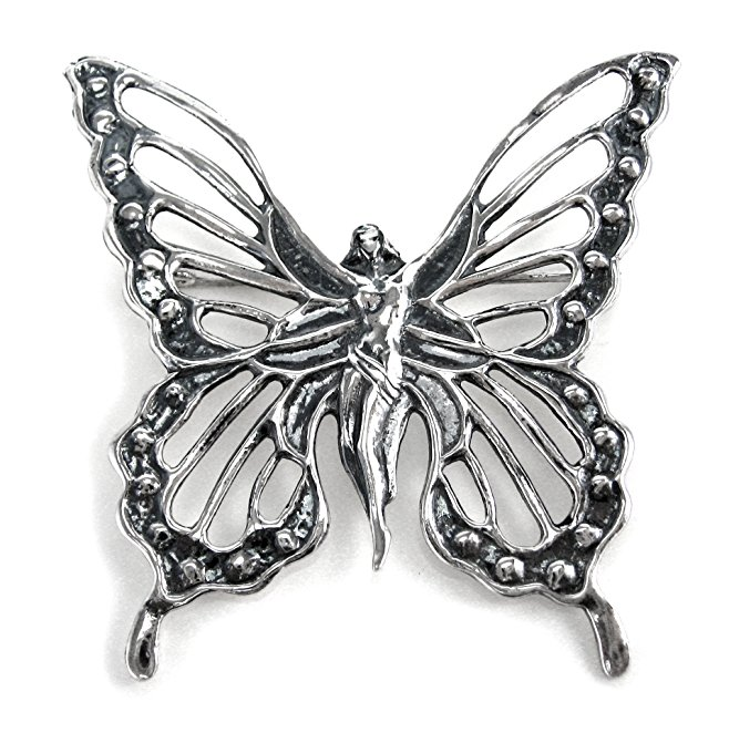 Sterling Silver Lady Butterfly Brooch Pin by