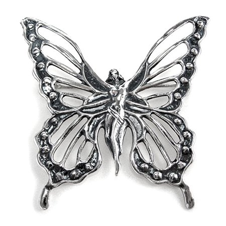Sterling Silver Lady Butterfly Brooch (Sterling Butterfly Pin)