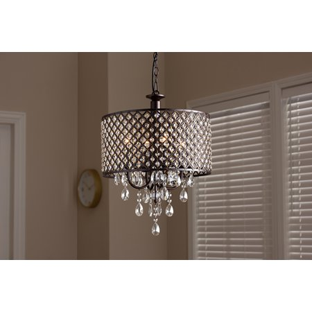 Baxton Studio Gitana Modern and Contemporary Dark Bronze Metal and Crystal 4-Light Drum Pendant Light Chandelier