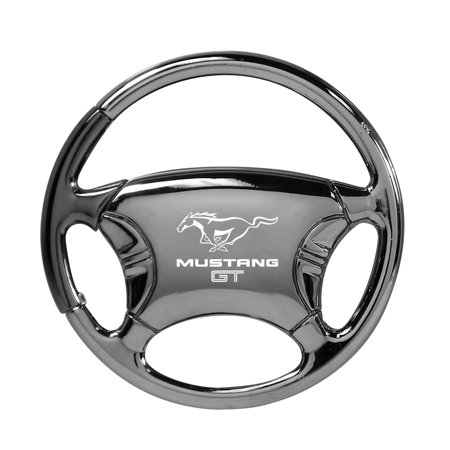 ford mustang gt black chrome steering wheel key chain