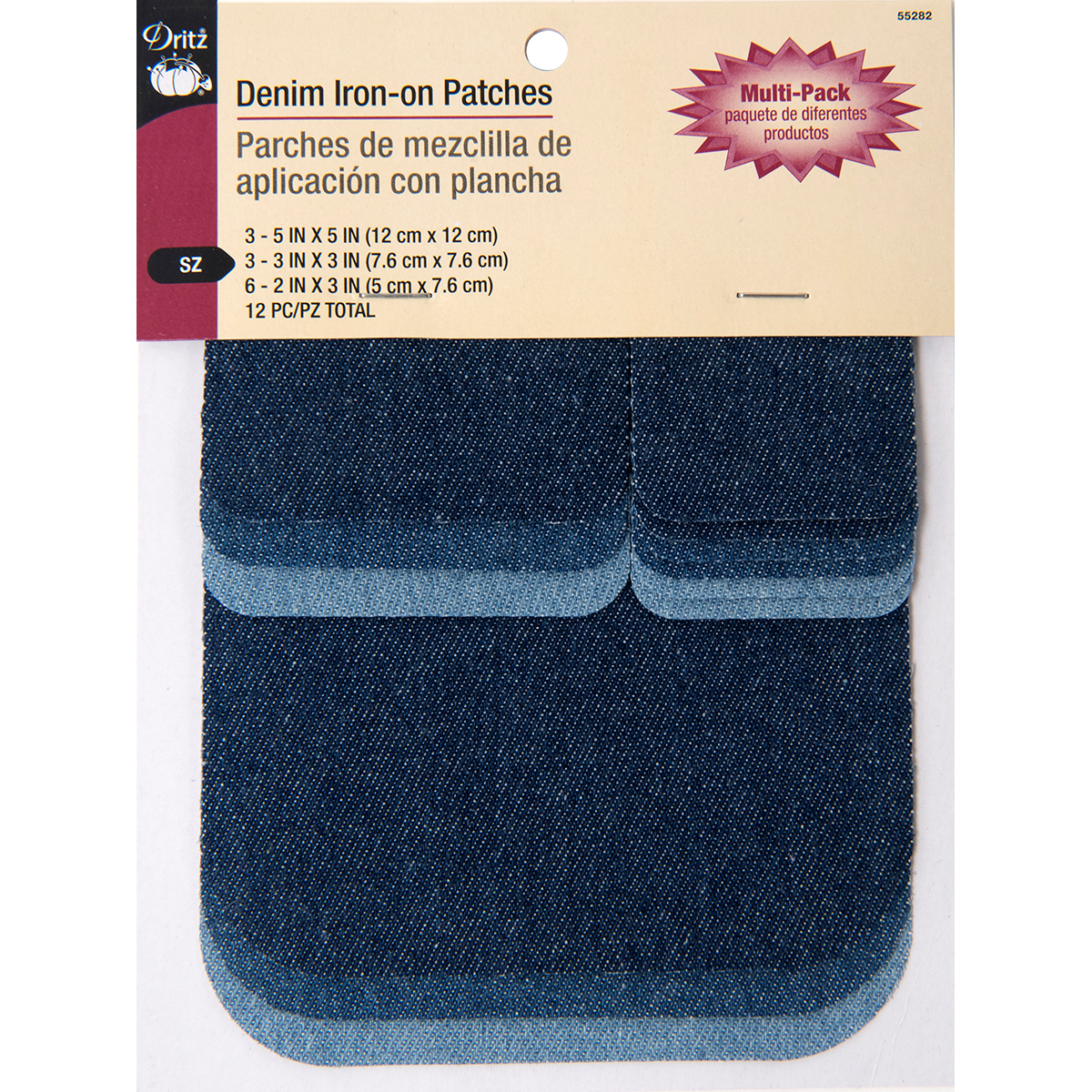 Dritz Iron-On Patches - Pack of 12, Assorted Denim