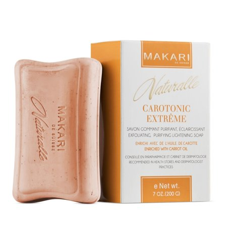 Makari Naturalle Carotonic Extreme Skin Lightening Soap 7oz. – Exfoliating & Toning Body Soap with Carrot Oil & SPF 15 – Cleansing & Whitening for Dark Spots, Acne Scars, Blemishes (Mentha Body Exfoliating Soap)