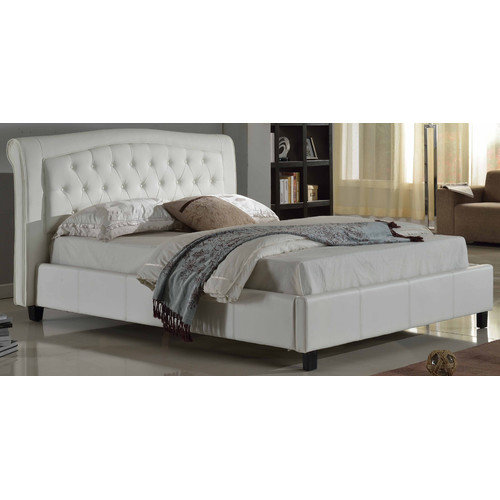 Darcy PU Platform Bed with Tufted Headboard-Color:White,Size:Queen