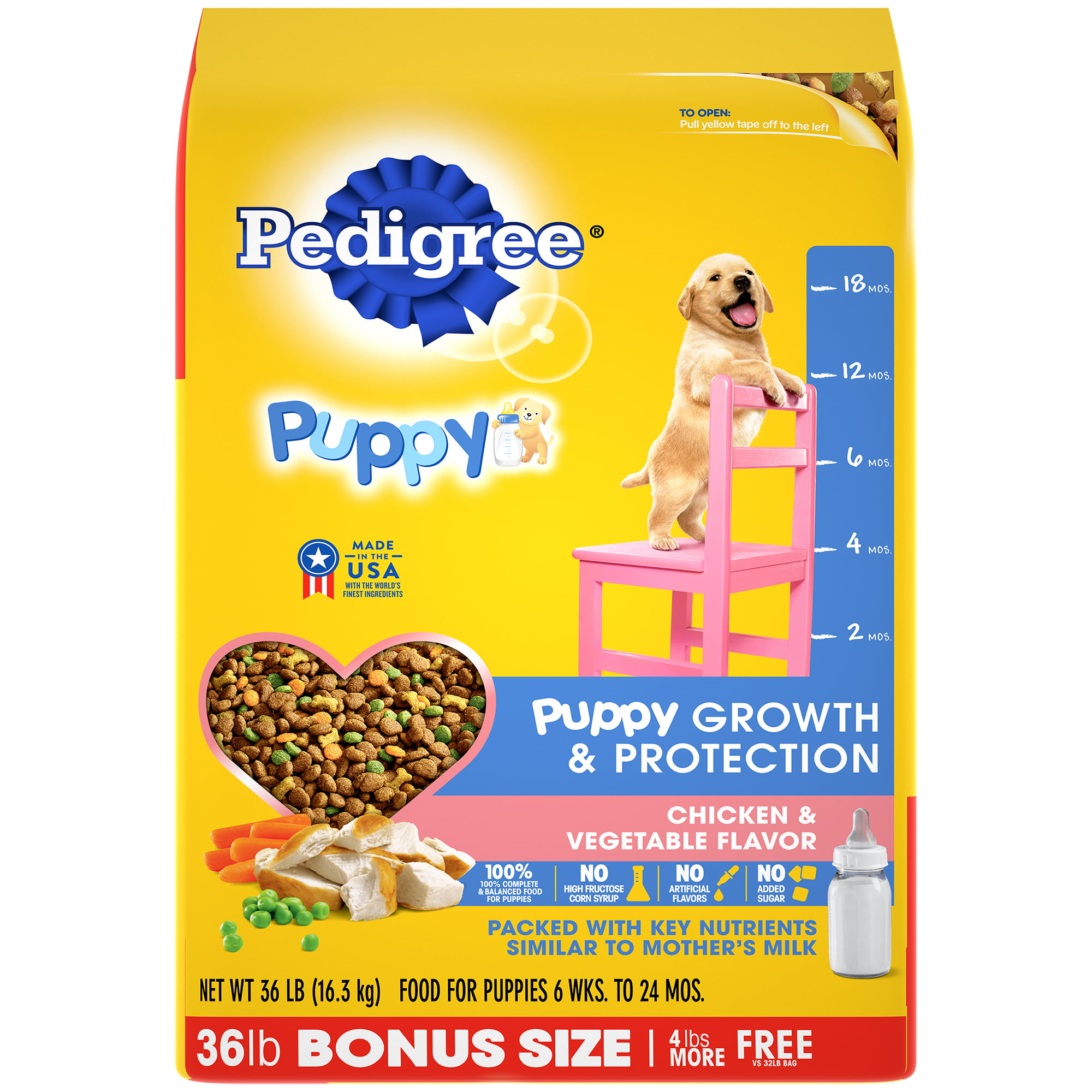 Pedigree Puppy Growth  Protection Dry Dog Food Chicken  Vegetable Flavor