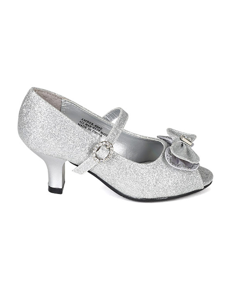 New Girl Little Angel Amber-804E Glitter Bow Jewel Mary Jane Kitten Heel Pump