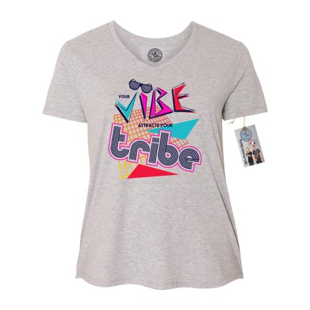 298a49626 custom-apparel-r-us - vibe tribe 90's retro plus size womens v-neck t-shirt  top - Walmart.com