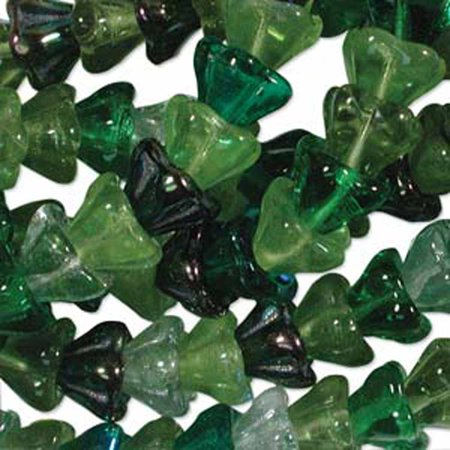 Evergreen Mix 6x8mm Flower Cone 45 Bead Cap Czech Glass, Loose (Evergreen Mix)