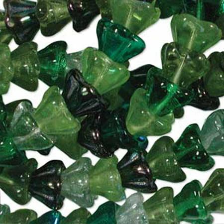 Evergreen Mix 6x8mm Flower Cone 45 Bead Cap Czech Glass, Loose Beads,
