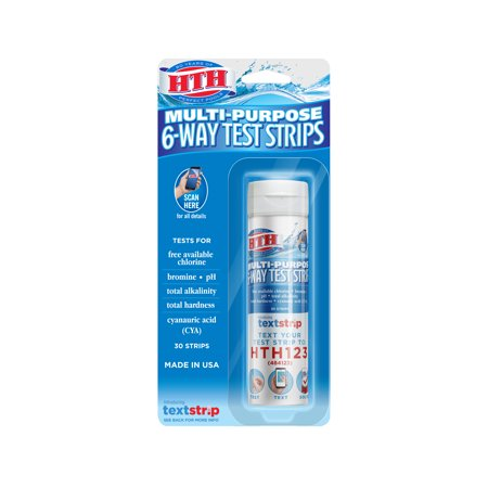 Chloramine Test Strips - HTH Multi-Purpose 6-Way Test Strips for Swimming Pools