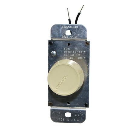 Lightolier Controls Dawn D600-PP Push Incandescent Dimmer Single Pole 120V, Ivory
