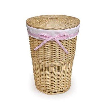 Badger Basket Round Wicker Hamper With Liner 4 Belts Natural White Hampers Home