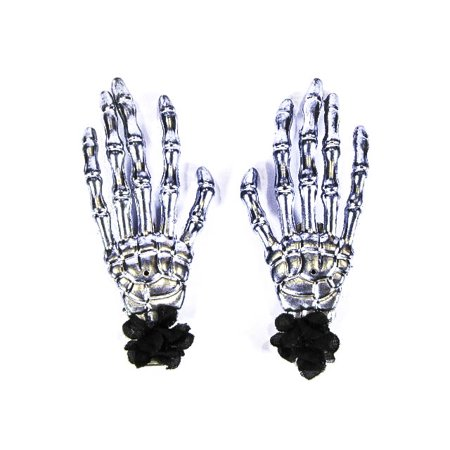 Scary Halloween Clips (Hairy Scary Silver Skeleton Halloween Hades Hands w Black Hair Clip)