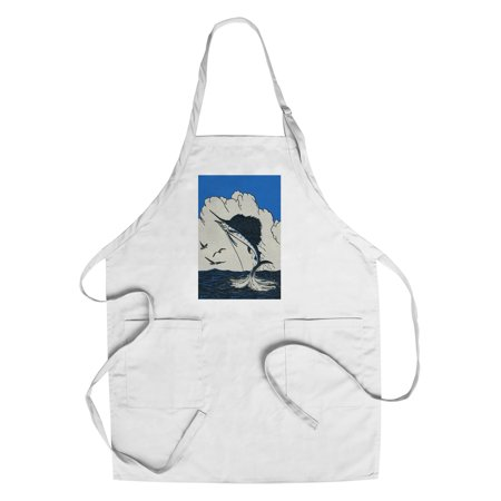 Nature Magazine - View of a Marlin Jumping out of the Ocean with a Hook in its Mouth (Cotton/Polyester Chef's Apron)