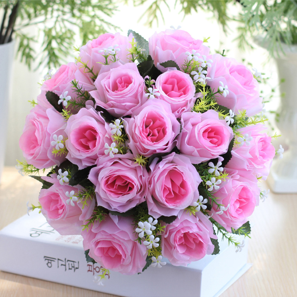 18Head Artificial Silk Roses Flowers Bridal Bouquet Rose Home Wedding Decor A