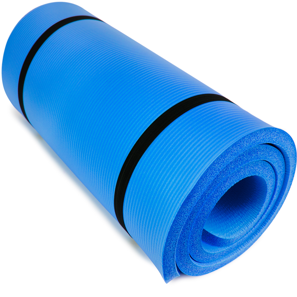 """Crown Sporting Goods Yoga Cloud Ultra-Thick 1"""" Yoga and Exercise Mat with Shoulder Sling, Blue"""