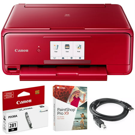 Canon Network Printer Copiers - Canon PIXMA TS8120 Wireless Inkjet All-in-One Printer with Scanner & Copier Red (2230C042) CLI-281 Black Ink Tank, Corel Paint Shop Pro X9 Digital Download & High Speed 6-foot USB Printer Cable