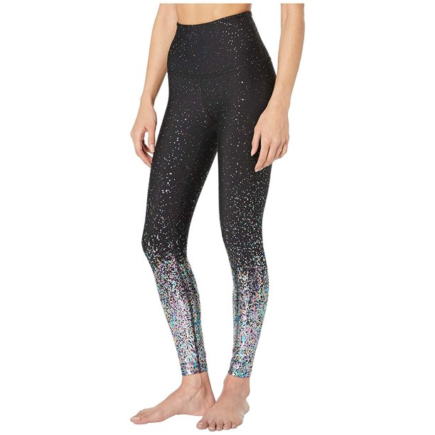 Beyond Yoga Alloy Ombre High-Waisted Midi Leggings Black Iridescent Speckle
