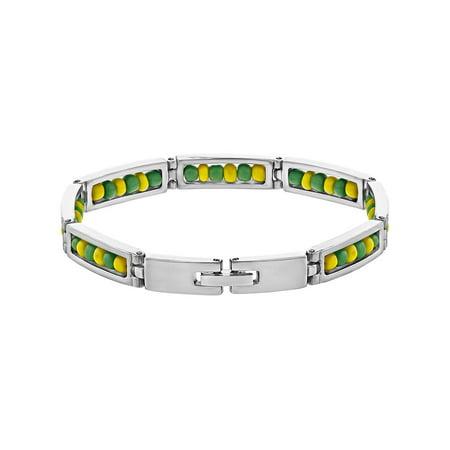 Stainless Steel Link Wristband Inside Babalawo Unisex Santeria Orula Bracelet