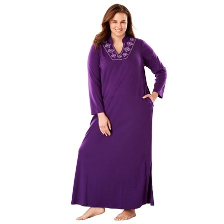 d74b251f11 Only Necessities - Plus Size Long Embroidered Knit Lounger By Only  Necessities - Walmart.com