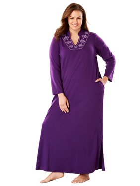 Only Necessities Plus Size Long Embroidered Knit Lounger